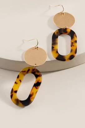 francesca's Bianca Tortoise Oval Drop Earrings - Amber