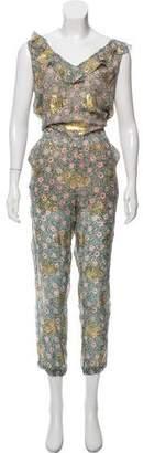 The Kooples Metallic Silk Floral Jumpsuit w/ Tags