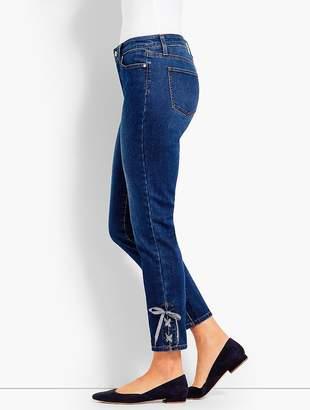 Talbots Gingham Lace-Up Denim Slim Ankle - Brenton Wash