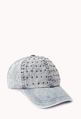 Forever 21 Studded Denim Baseball Cap