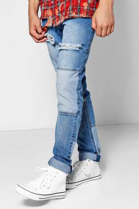 boohoo Mid Blue Denim Slim Fit Patchwork Jeans
