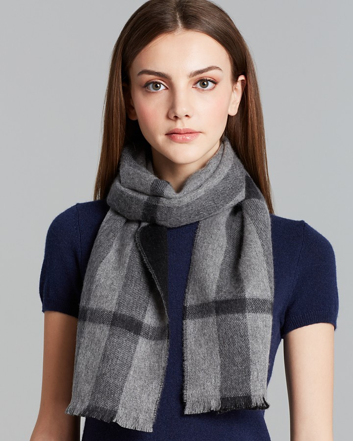 Burberry Solid to Check Cashmere Scarf