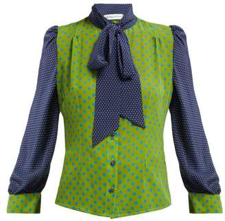 Edeltrud Hofmann - Sofi Pussy Bow Silk Blouse - Womens - Green Multi