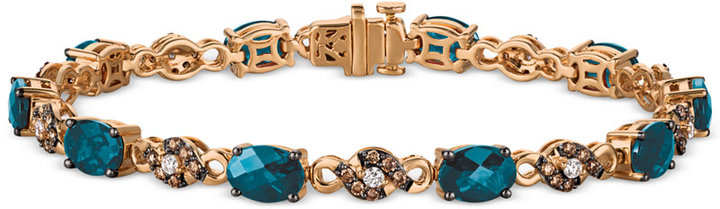 Le Vian® Chocolatier Blue Topaz (9 ct. t.w.) and Diamond (3/4 ct. t.w.) Link Bracelet in 14k Rose Gold, Only at Macy's