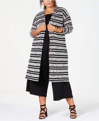 Eyeshadow Trendy Plus Size Striped Completer Cardigan