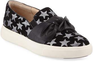 Neiman Marcus Olery Glittered Bow Sneakers Black