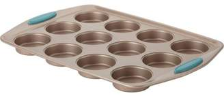 Rachael Ray Cucina Nonstick Bakeware 12-Cup Muffin/Cupcake Pan, Latte Brown, Agave Blue Handle Grips
