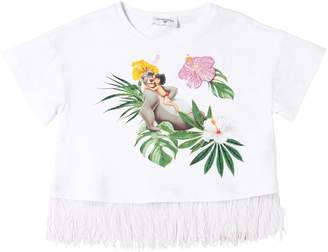 MonnaLisa Jungle Book Print Jersey Cropped T-Shirt