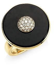Maria Canale Women's Pyramide 18K Yellow Gold, Diamond & Black Onyx Disc Ring