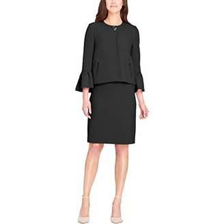 Tahari by Arthur S. Levine Women's Pebble Crepe Skirt Suit with Ruffle Sleeve