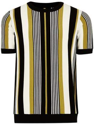 Topman Mens Yellow Stripe Crew Neck Sweater