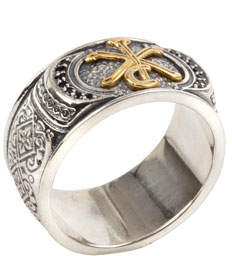 Konstantino Men's Stavros 18k Gold Trim Ring