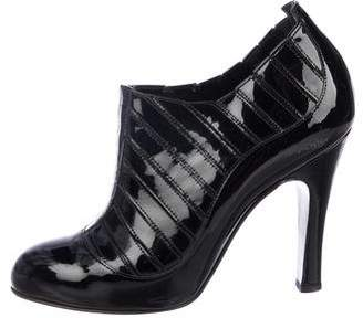 Chanel Patent Leather Round-Toe Ankle Booties