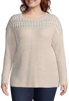 ST. JOHN'S BAY Pointelle Yoke Pullover Sweater - Plus