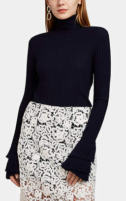 Chloé Women's Ruffled-Cuff Turtleneck Sweater - Navy