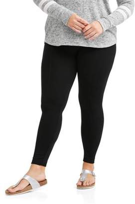 Poof Apparel Juniors' Plus Textured Fleece Lined Leggings With Slimming Front Seam