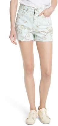 Rebecca Taylor Floral Cutoff Denim Shorts