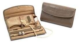 Bey-Berk Embossed Leather Jewelry Clutch