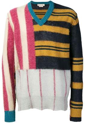 Marni patched stripe sweater