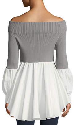 Gracia Off-The-Shoulder Ribbed & Shirting Ruffle-Bottom Blouse
