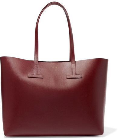 TOM FORD - T Small Textured-leather Tote - Burgundy
