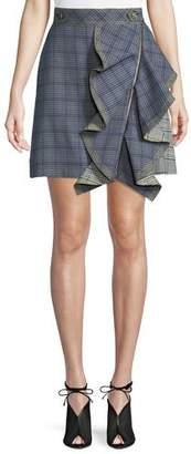 Self-Portrait Check Flounce Mini Skirt