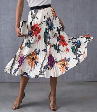 Reiss Mya Bold Floral Knife Pleated Midi Skirt