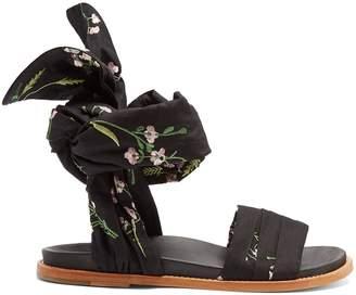 Marques Almeida MARQUES'ALMEIDA Floral-embroidered wrap sandals