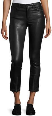 Helmut Lang Skinny Zip-Cuff Leather Leggings, Black