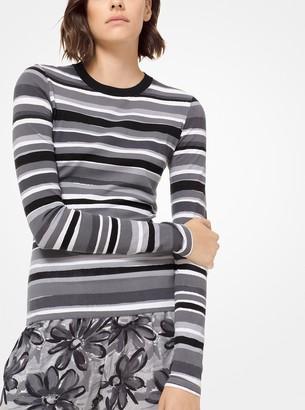 Michael Kors Painterly Stripe Stretch-Viscose Long-Sleeve Tee