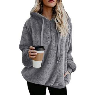 587d48f34e0 CAIYING Women s Oversized Sherpa Pullover Hoodie with Pockets 1 4 Zip  Sweatshirt (