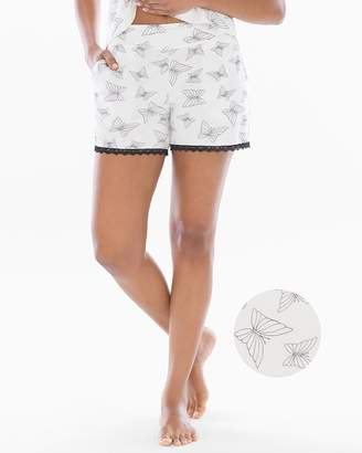 Cool Nights Lace Trim Sleep Shorts Happy Butterfly Ivory