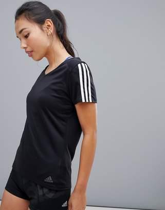 adidas Three Stripe Tee In Black