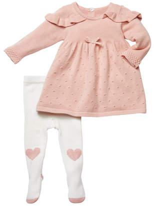 Miniclasix Ruffle-Shoulder Sweater Dress w/ Heart Tights, Size 3-9 Months