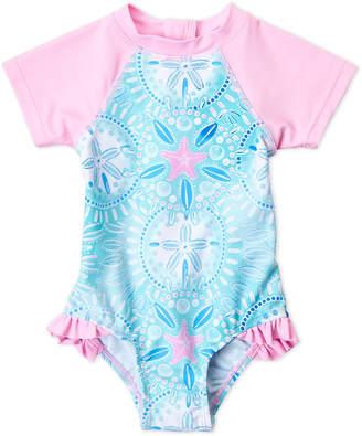 Floatimini Toddler Girls) Sand Dollar One-Piece Rash Guard Swimsuit