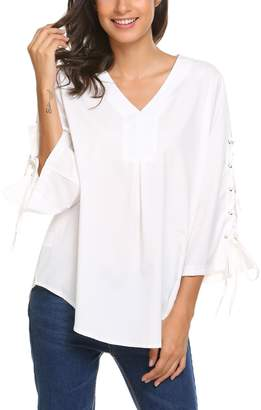 ce23794c1efbf3 Meaneor Womens 3 4 Bell Sleeve V Neck Casual Shirt Tops Blouse Tee(