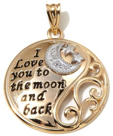 """Michael Anthony Jewelry 10K Gold 2-Tone """"I Love You to the Moon and Back"""" Round Pendant"""