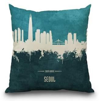 East Urban Home Seoul Skyline South Korea Throw Pillow East Urban Home