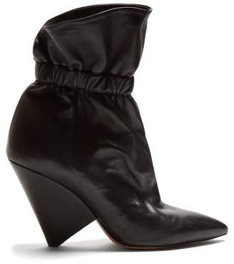 Isabel Marant Lileas Leather Ankle Boots - Womens - Black