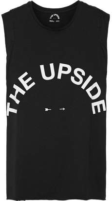 The Upside Muscle Printed Cotton-jersey Tank - Black
