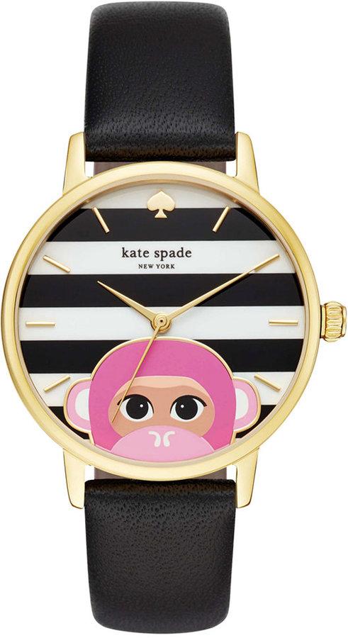 Kate Spadekate spade new york Women's Metro Black Leather Strap Watch 34mm KSW1259
