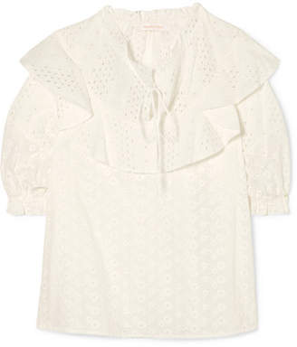 See by Chloe Ruffled Broderie Anglaise Cotton Blouse - White