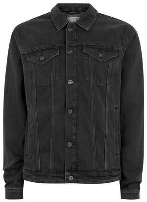 Topman Mens Black Denim Jacket