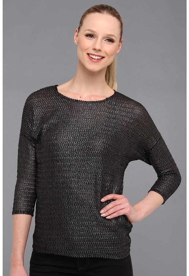 Vince Camuto TWO by Three-Quarter Sleeve Stitch Top (Rich Black) - Apparel