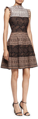 Alexander McQueen Sleeveless Fit-&-Flare Python Dress, Brown/Multi $1,945 thestylecure.com