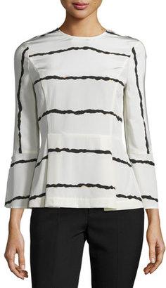 Derek Lam 10 Crosby Striped Silk Bell-Sleeve Blouse, Soft White $395 thestylecure.com