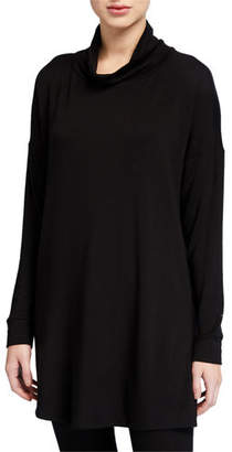 Eileen Fisher Turtleneck Side-Slit Long-Sleeve Terry Tunic