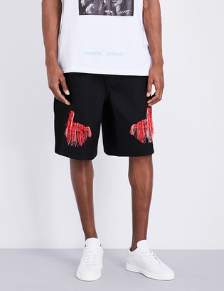 Off-White C/O Virgil Abloh Scorpion-embroidered jersey shorts $520 thestylecure.com