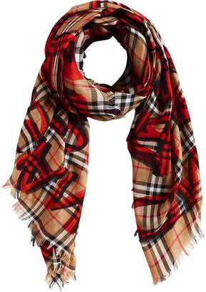 Burberry graffiti-print check scarf