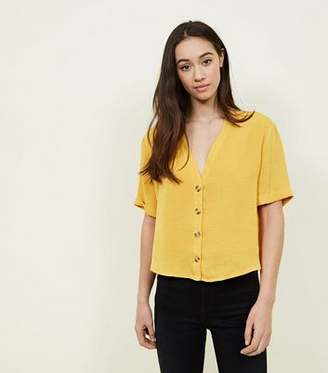 New Look Mustard V Neck Button Front Shirt